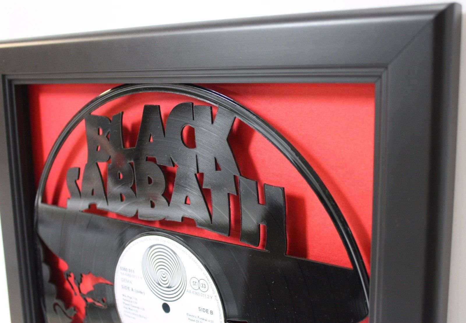 Black Sabbath 2 Black Wood Framed Laser Cut Black Vinyl Lp