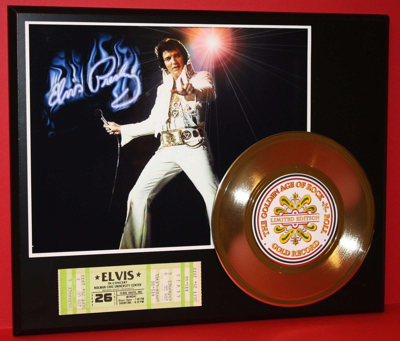 Elvis Presley Concert Ticket Series Gold Record Ltd Edition Display