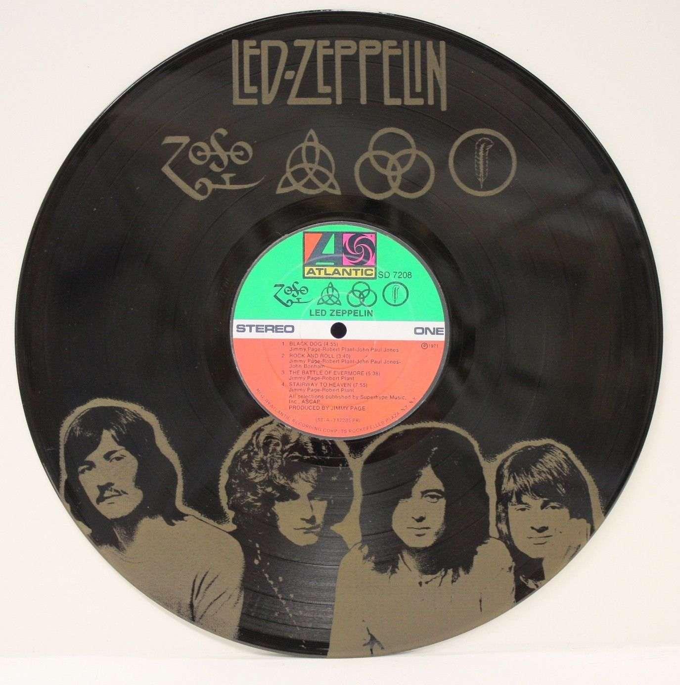 Led Zeppelin Black Vinyl Lp Etched W Artists Image