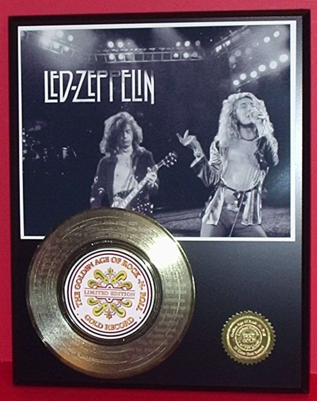 Led Zeppelin Gold Record Award Style Memorabilia Laser Etched W/Song Lyrics Art