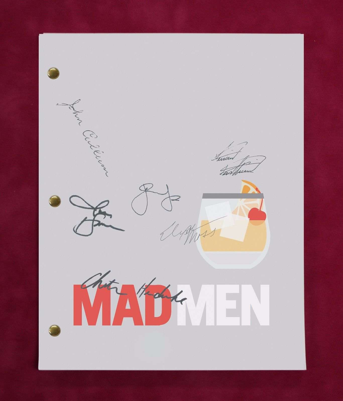 Mad Men Tv Script W/ Reproduction Signatures Hamm, Moss, Kartheiser C3