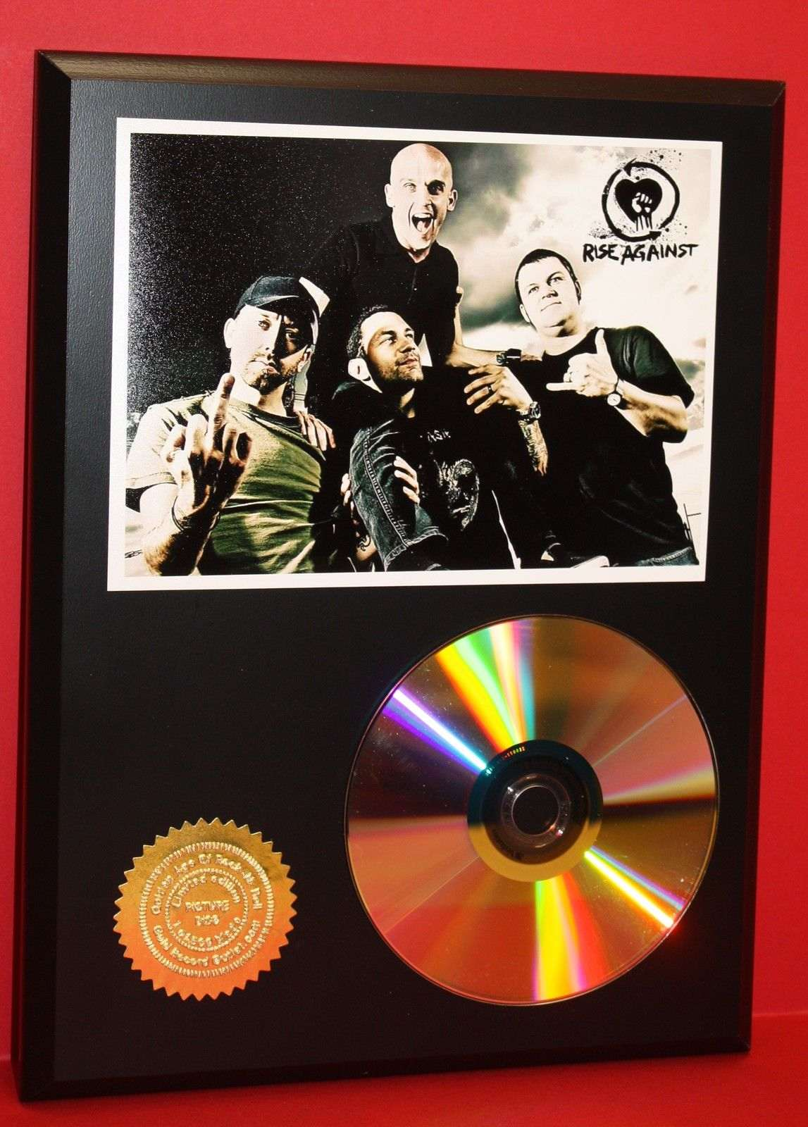 rise against punk 24kt gold cd disc collectible rare award quality plaque gift gold record. Black Bedroom Furniture Sets. Home Design Ideas