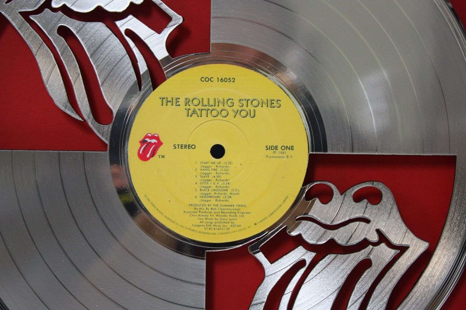 Rolling Stones Framed Laser Cut Platinum Vinyl Record in Shadowbox ...