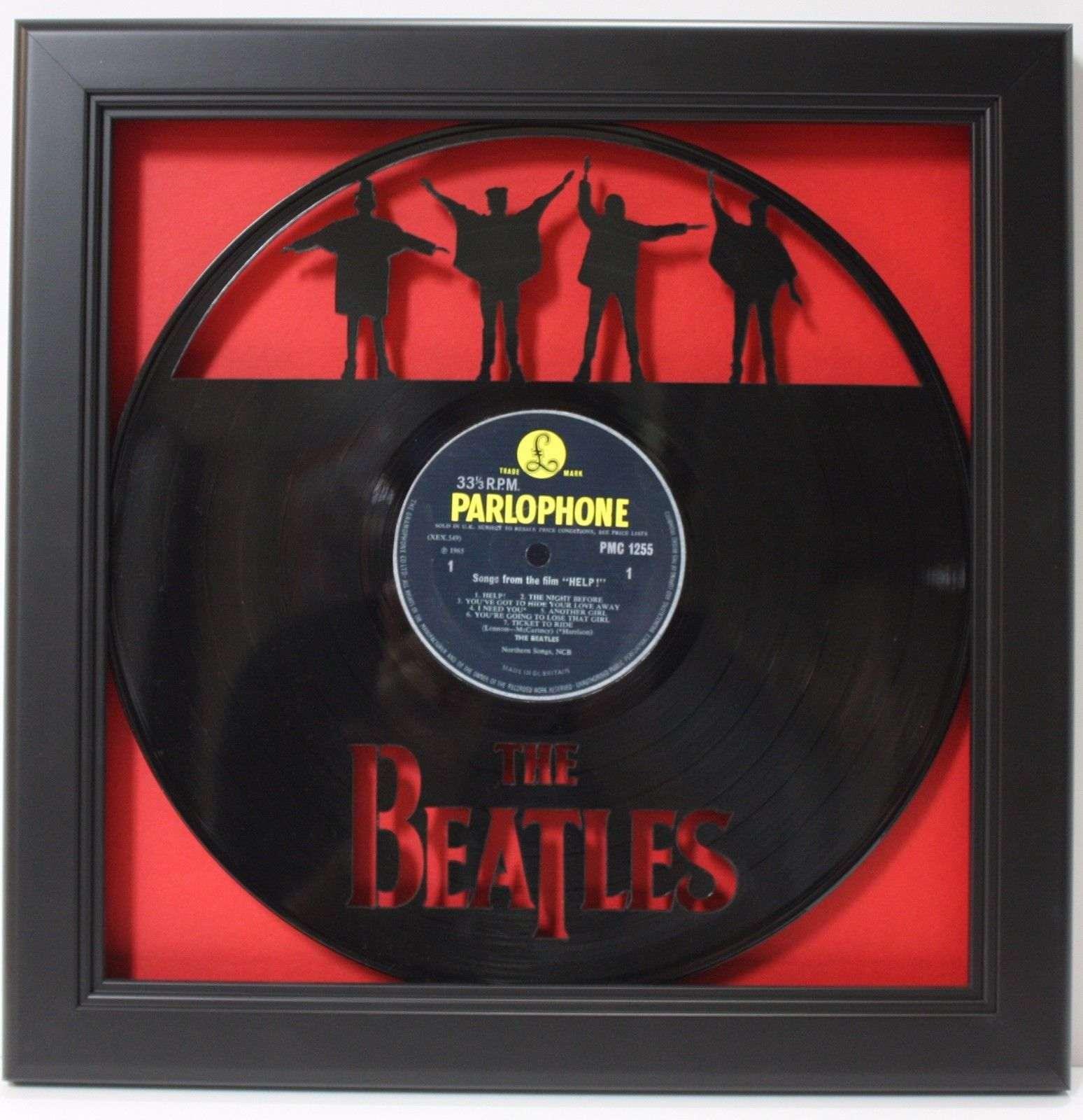 Beatles Help Black Wood Framed Laser Cut Black Vinyl Lp