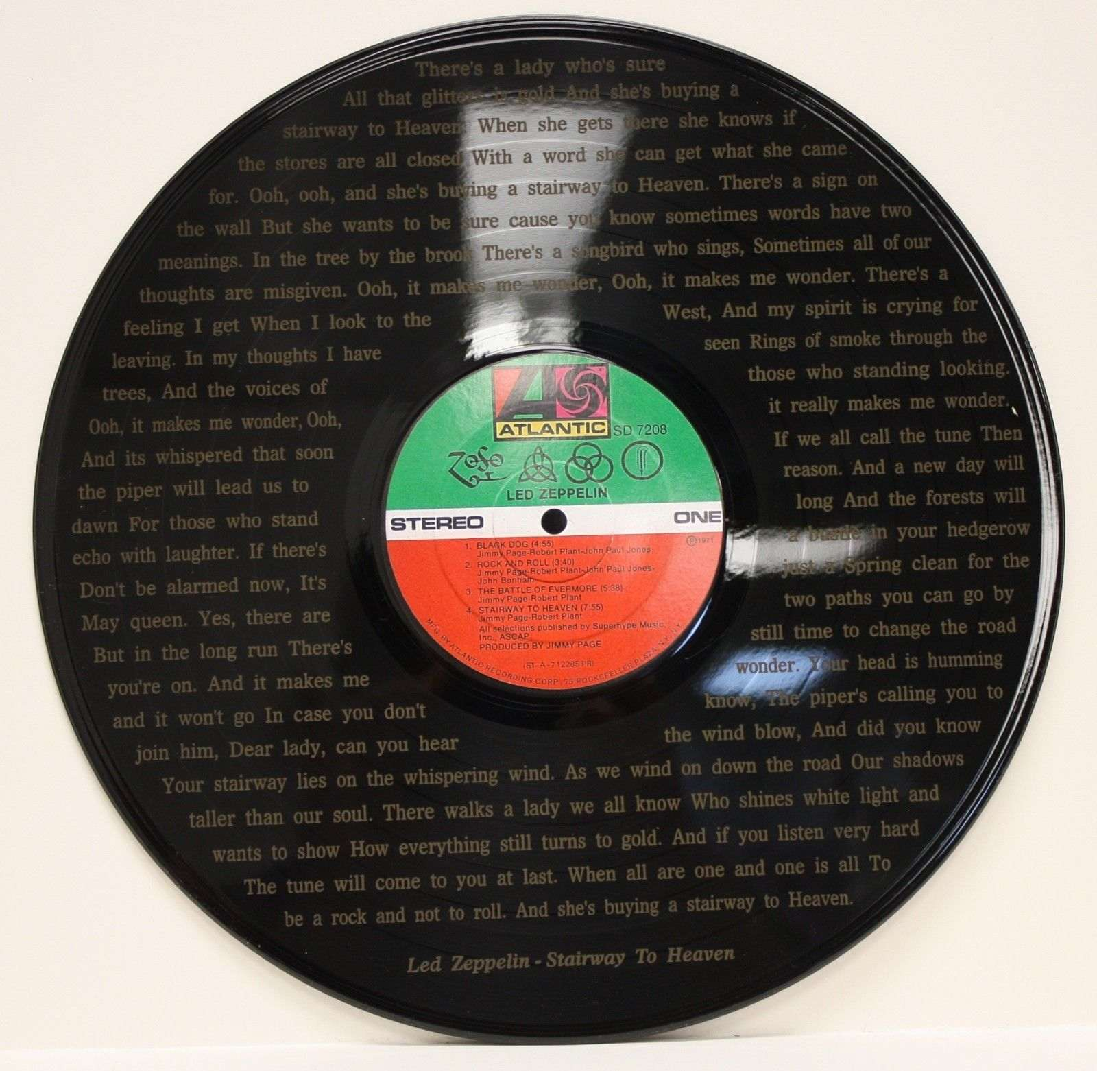 Led Zeppelin Vinyl Lp Etched W Stairway To Heaven Lyrics