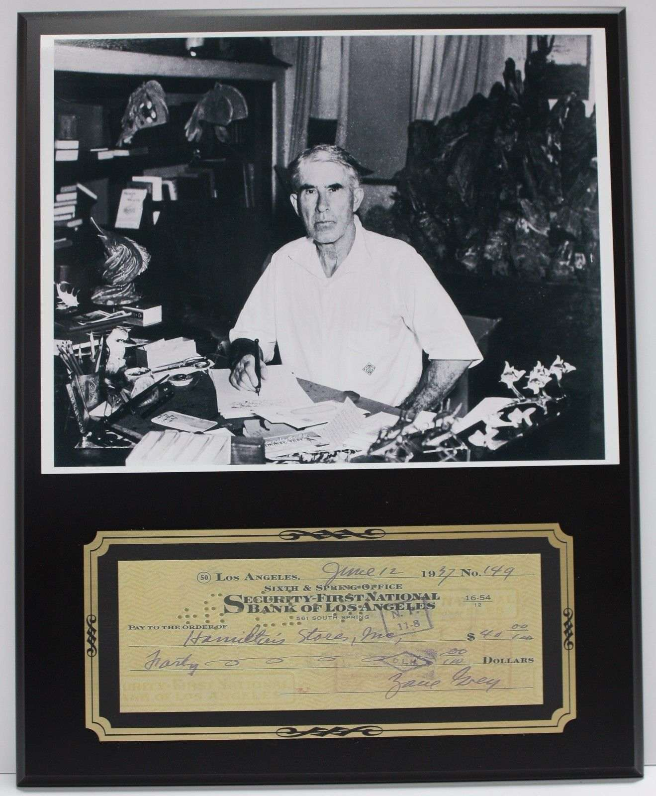 Zane Grey American Author Reproduction Signed Limited Edition Check  Display