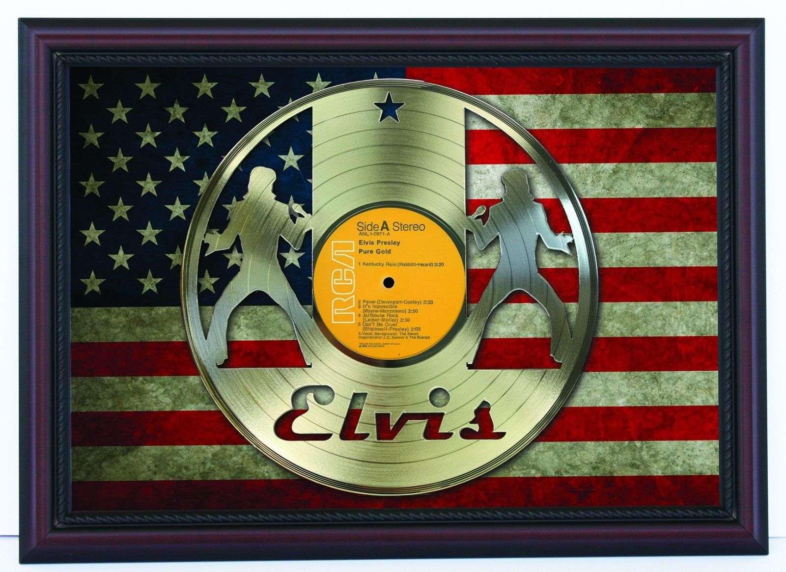 Elvis Presley Cherrywood Framed Laser Cut Lp Flag Display