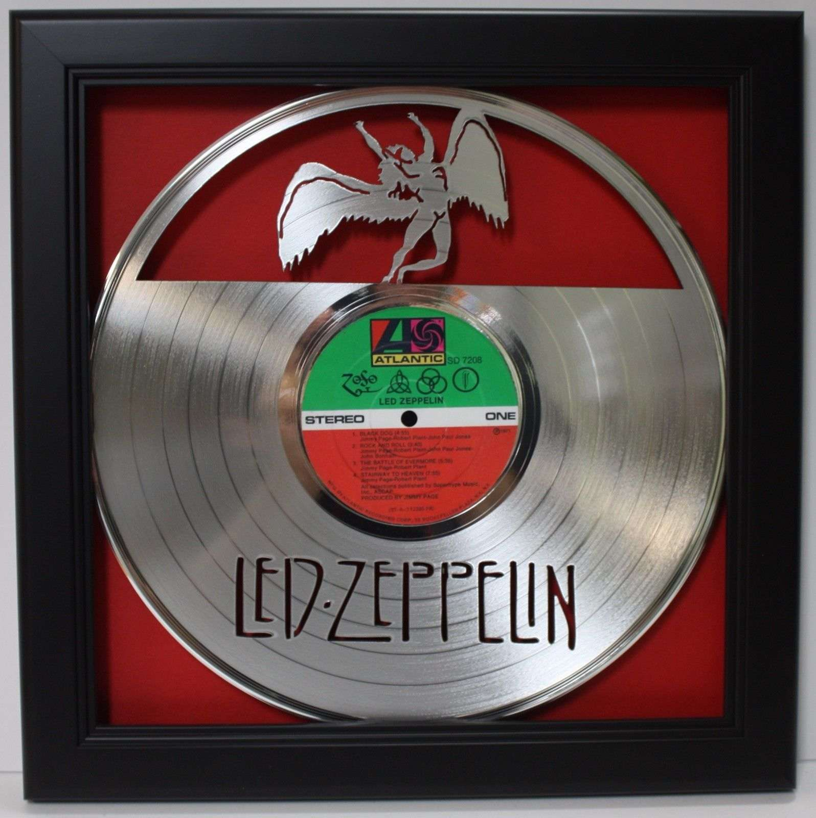 Led Zeppelin Zoso Black Wood Framed Laser Cut Platinum Lp