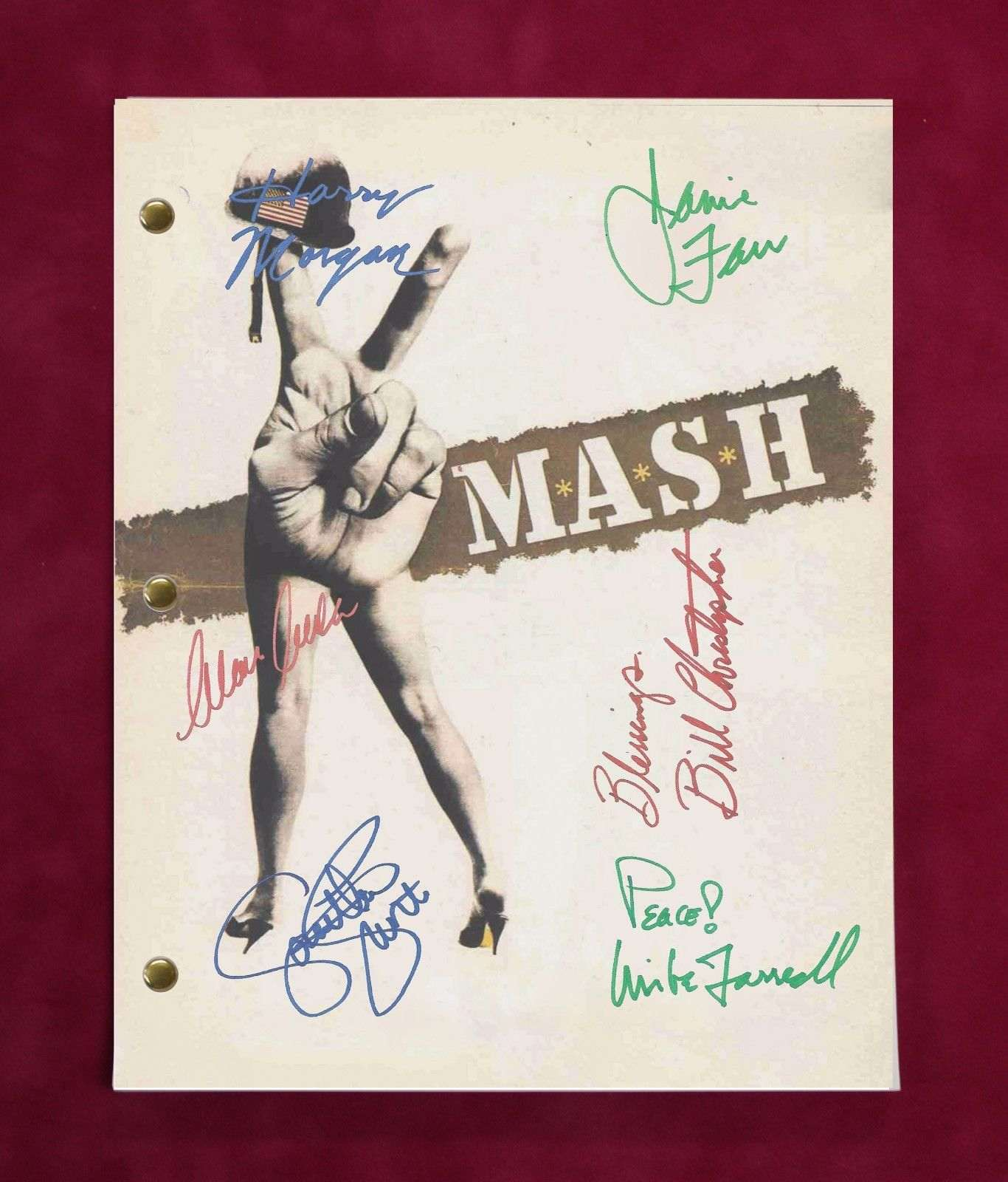 M*A*S*H Tv Script W/ Reproduction Signatures Alda, Rogers, Swit C3