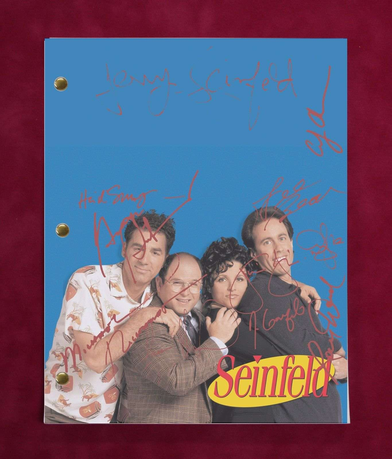 Seinfeld Tv Script W/ Reproduction Signatures Seinfeld, Dreyfus, Richards C3