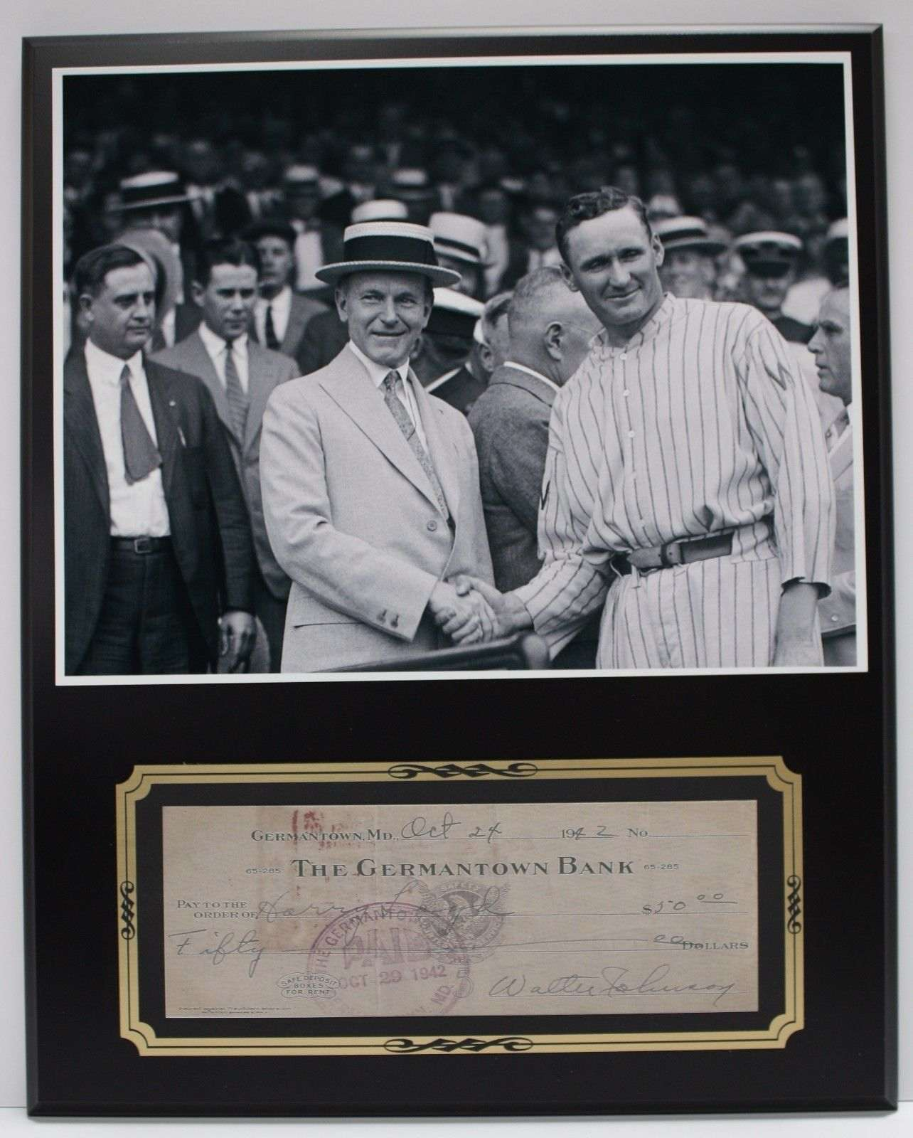 Walter Johnson Black Sox Reproduction Signed Limited Edition Check Display