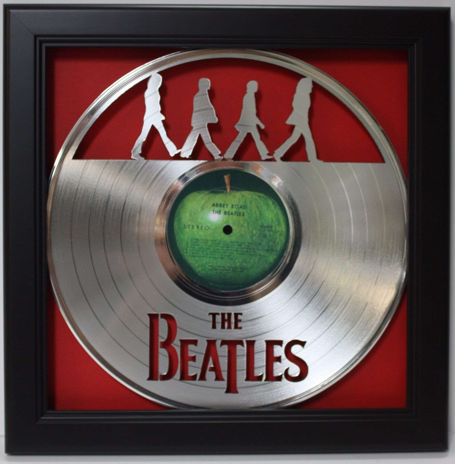 Beatles Abbey Road Black Wood Framed Laser Cut Platinum Lp