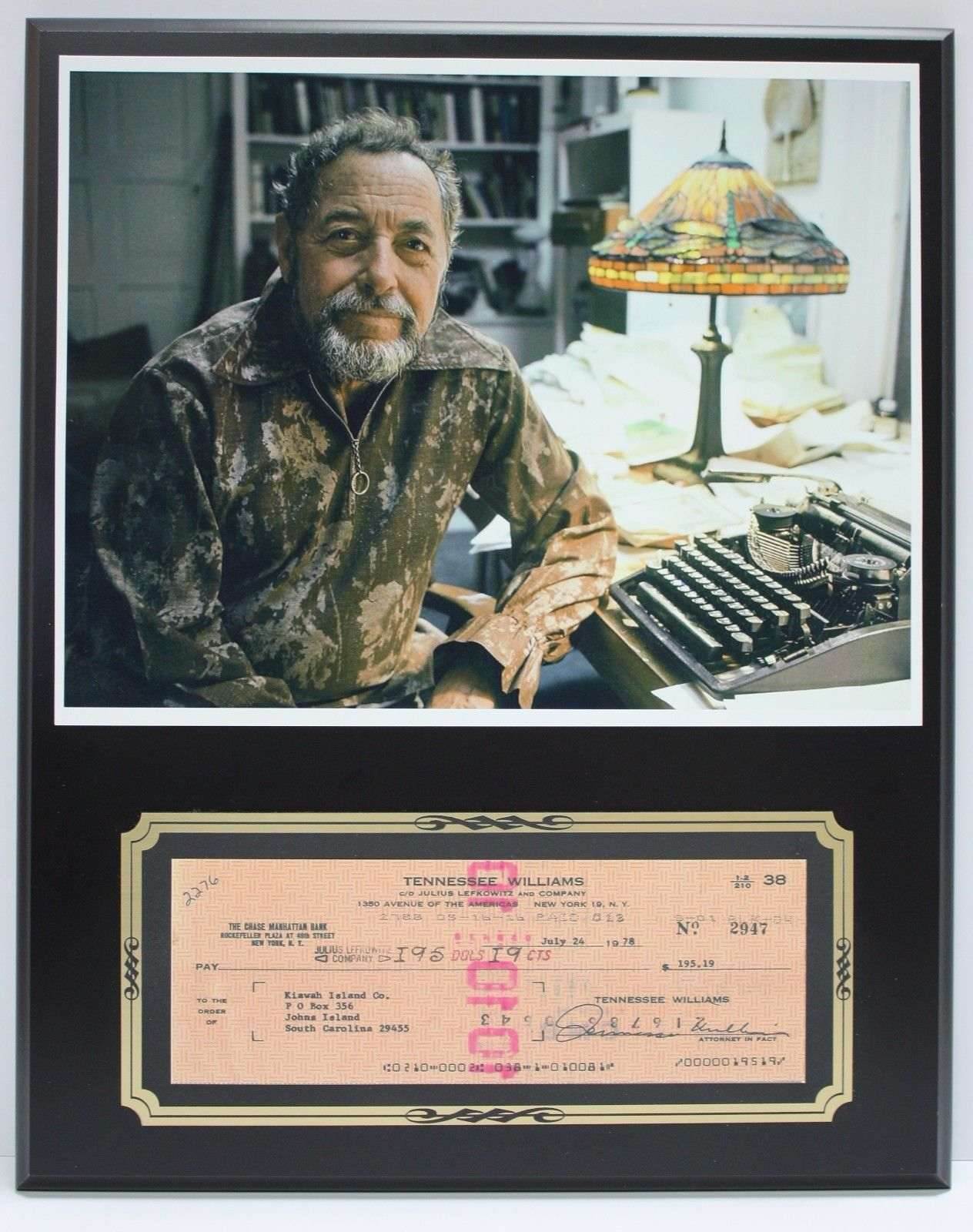 Tennessee Williams Author Reproduction Signed Limited Edition Check  Display