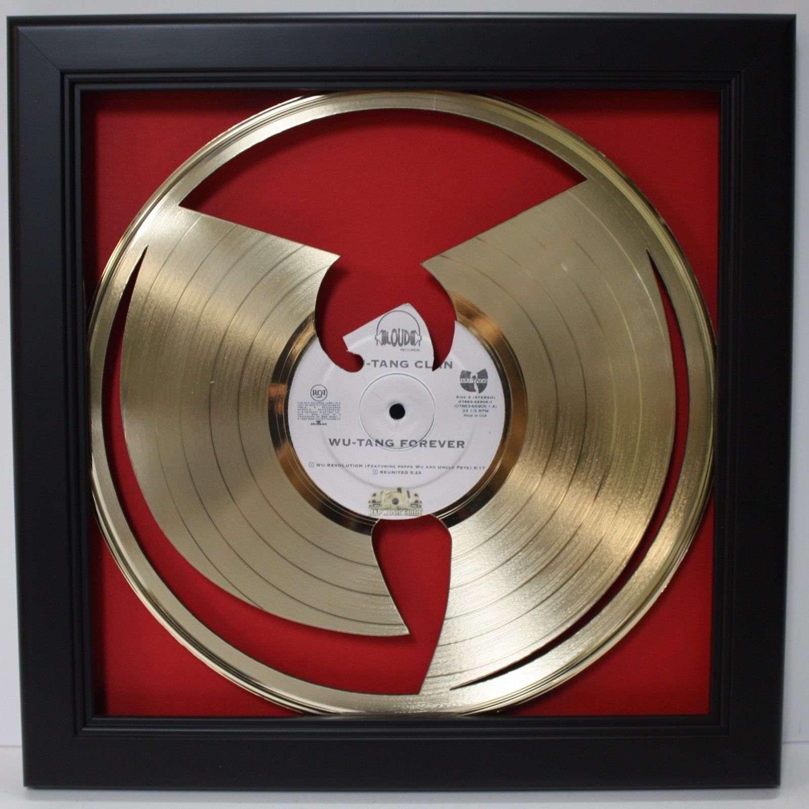 Shadow Box Wall Art wu tang framed laser cut gold plated vinyl record shadowbox wallart