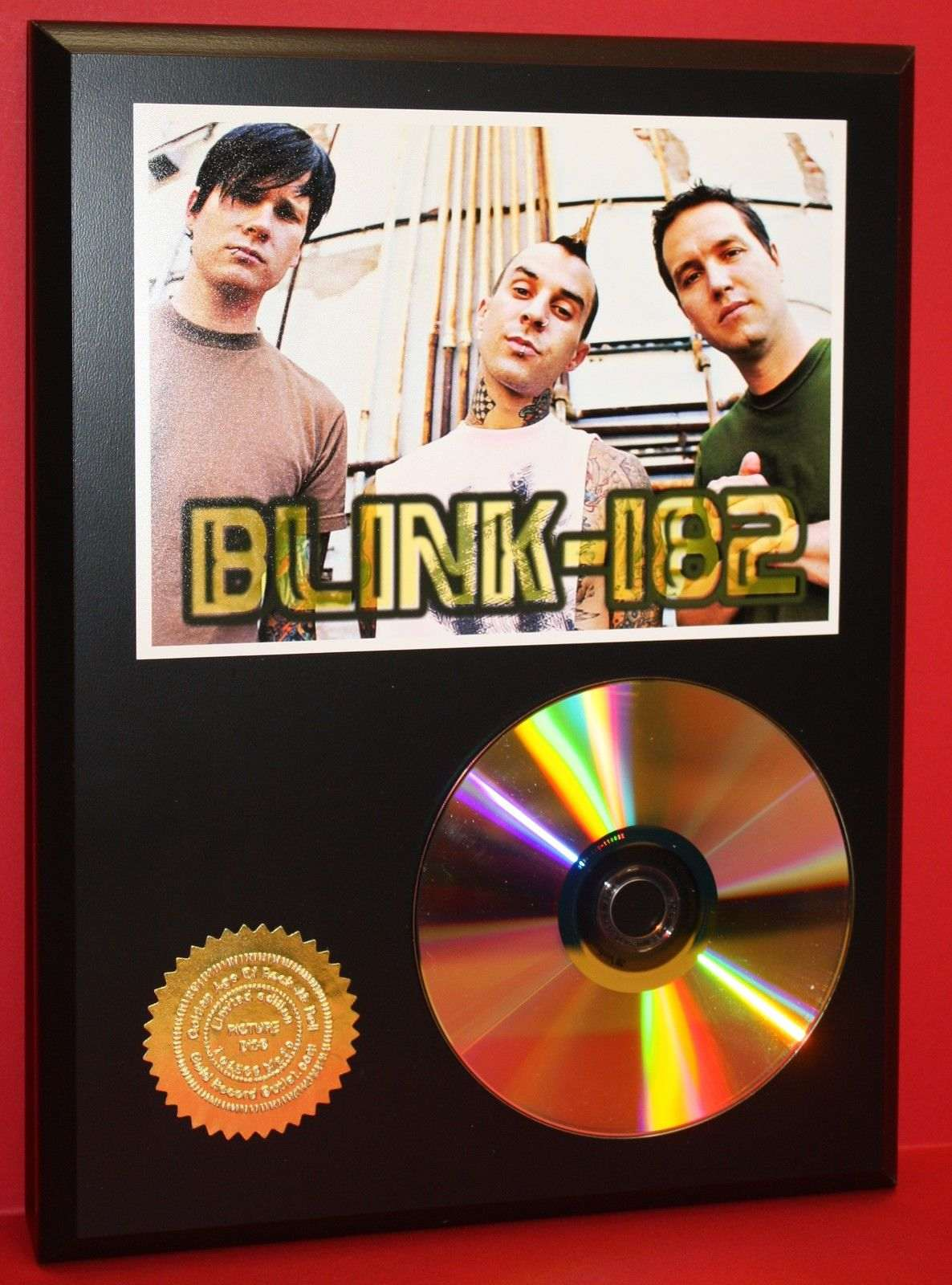 blink 182 punk band 24kt gold cd disc collectible rare award quality plaque gold record awards. Black Bedroom Furniture Sets. Home Design Ideas