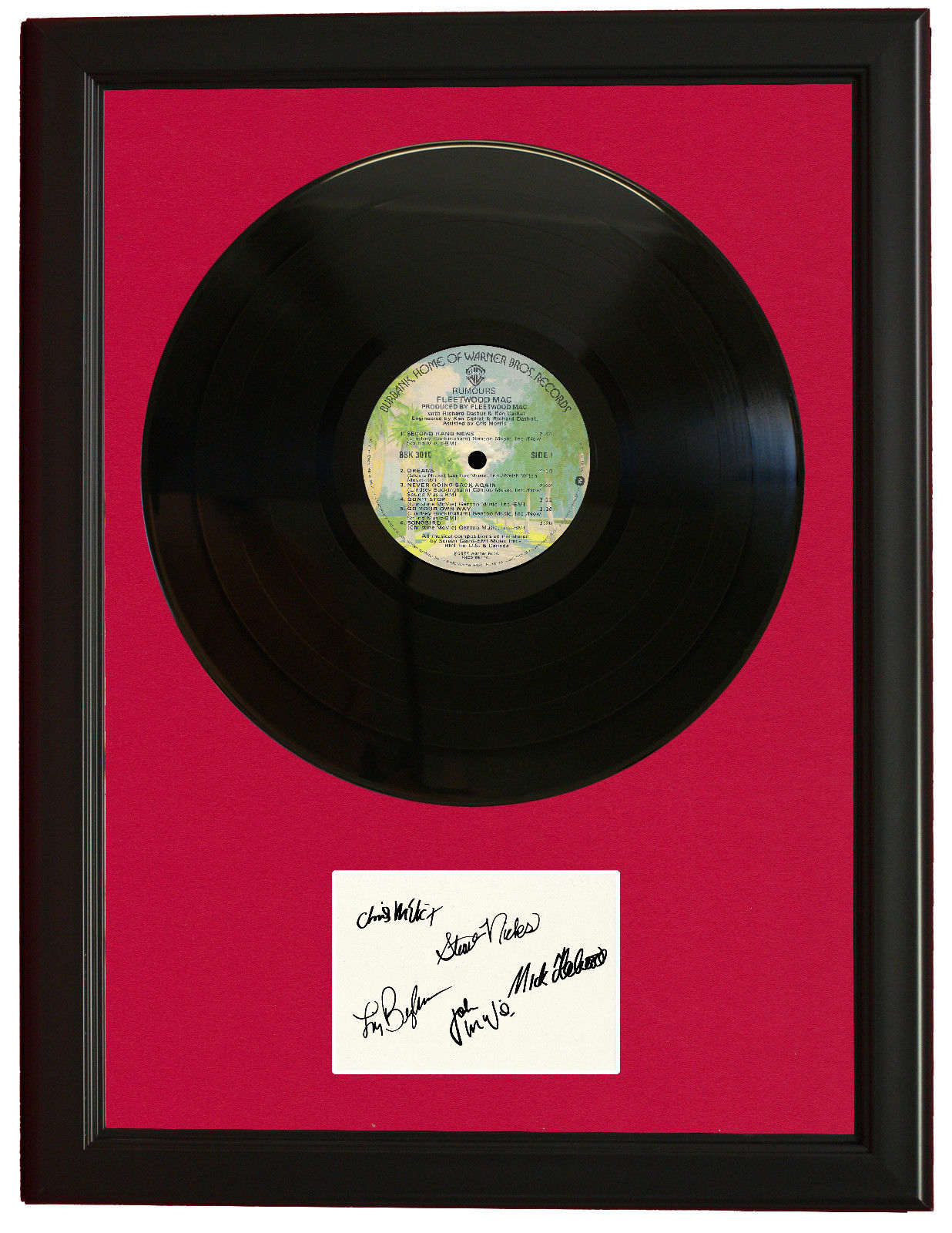 FLEETWOOD MAC BLACK WOOD FRAMED VINYL LTD LP SIGNATURE RECORD ...