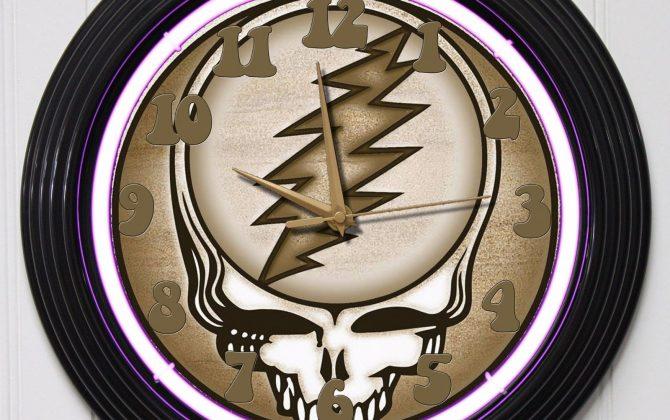 GRATEFUL DEAD 2 15 PURPLE NEON ROCK N ROLL WALL CLOCK K1 Gold