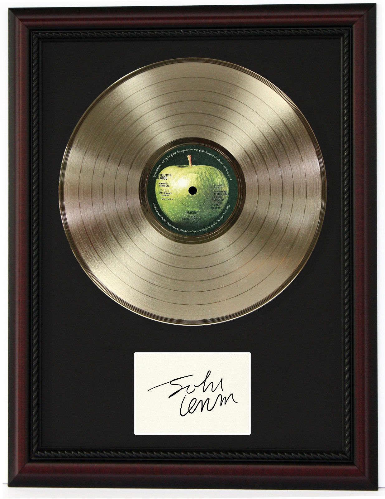 JOHN LENNON CHERRY WOOD FRAMED GOLD LP LTD SIGNATURE RECORD DISPLAY ...