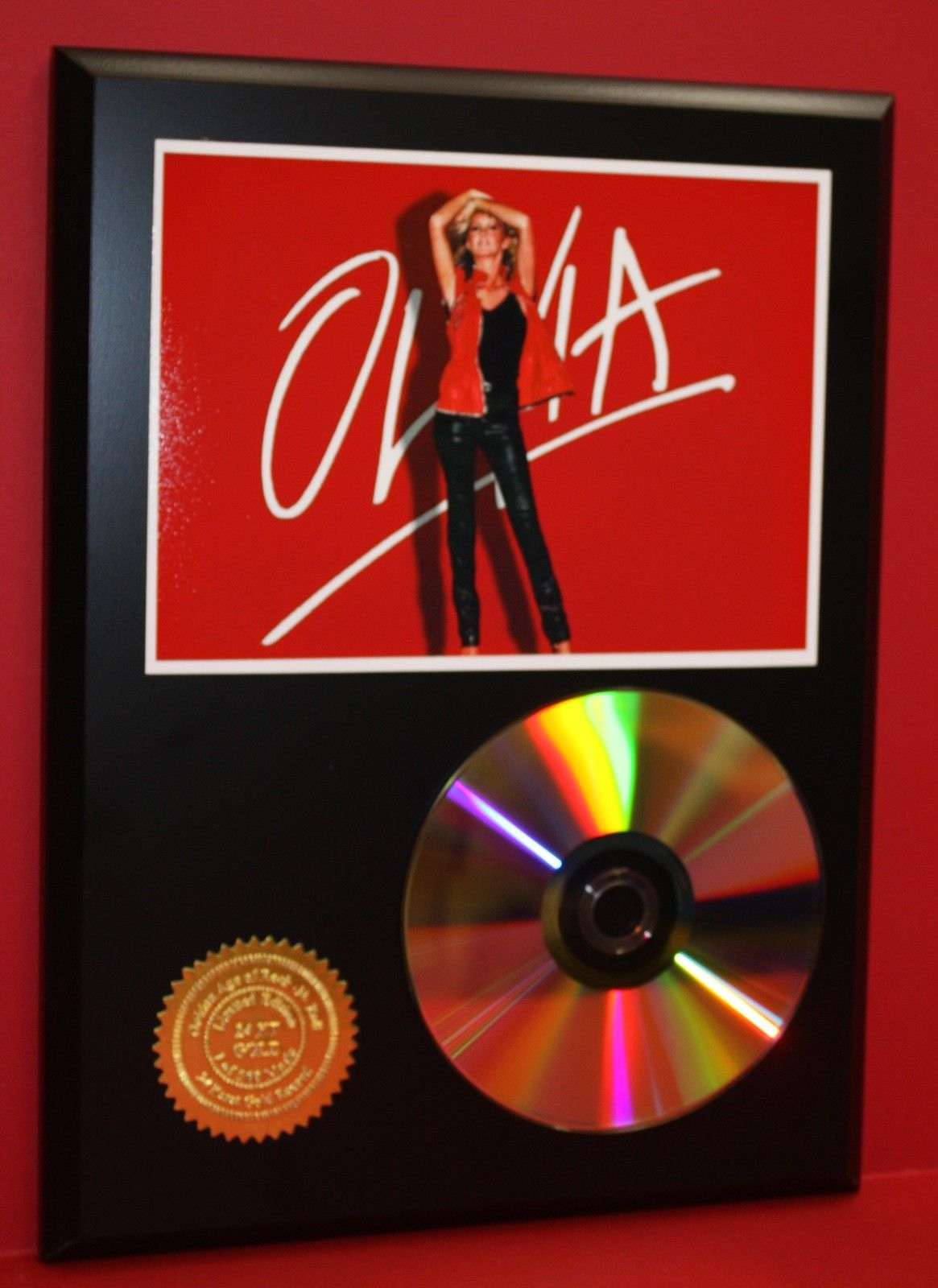 olivia newton john 24kt gold cd disc collectible rare award quality plaque gold record awards. Black Bedroom Furniture Sets. Home Design Ideas