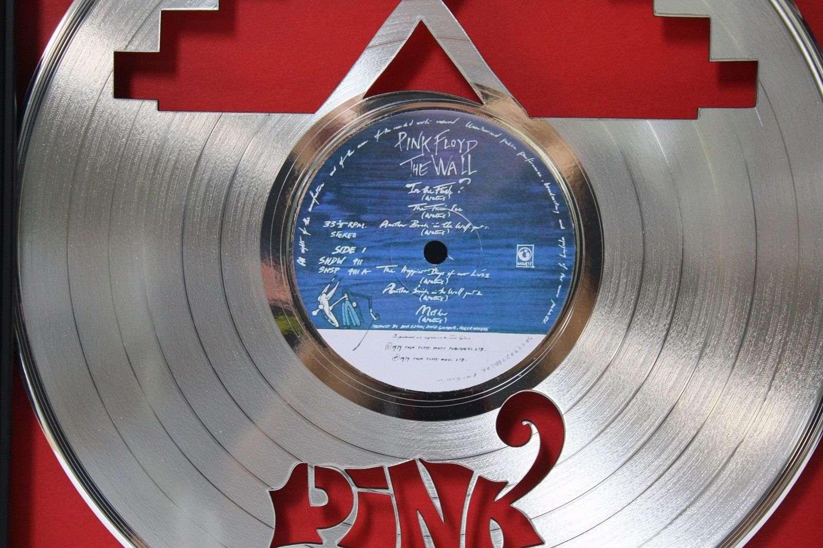 Pink Floyd Wall Framed Laser Cut Platinum Vinyl Record In