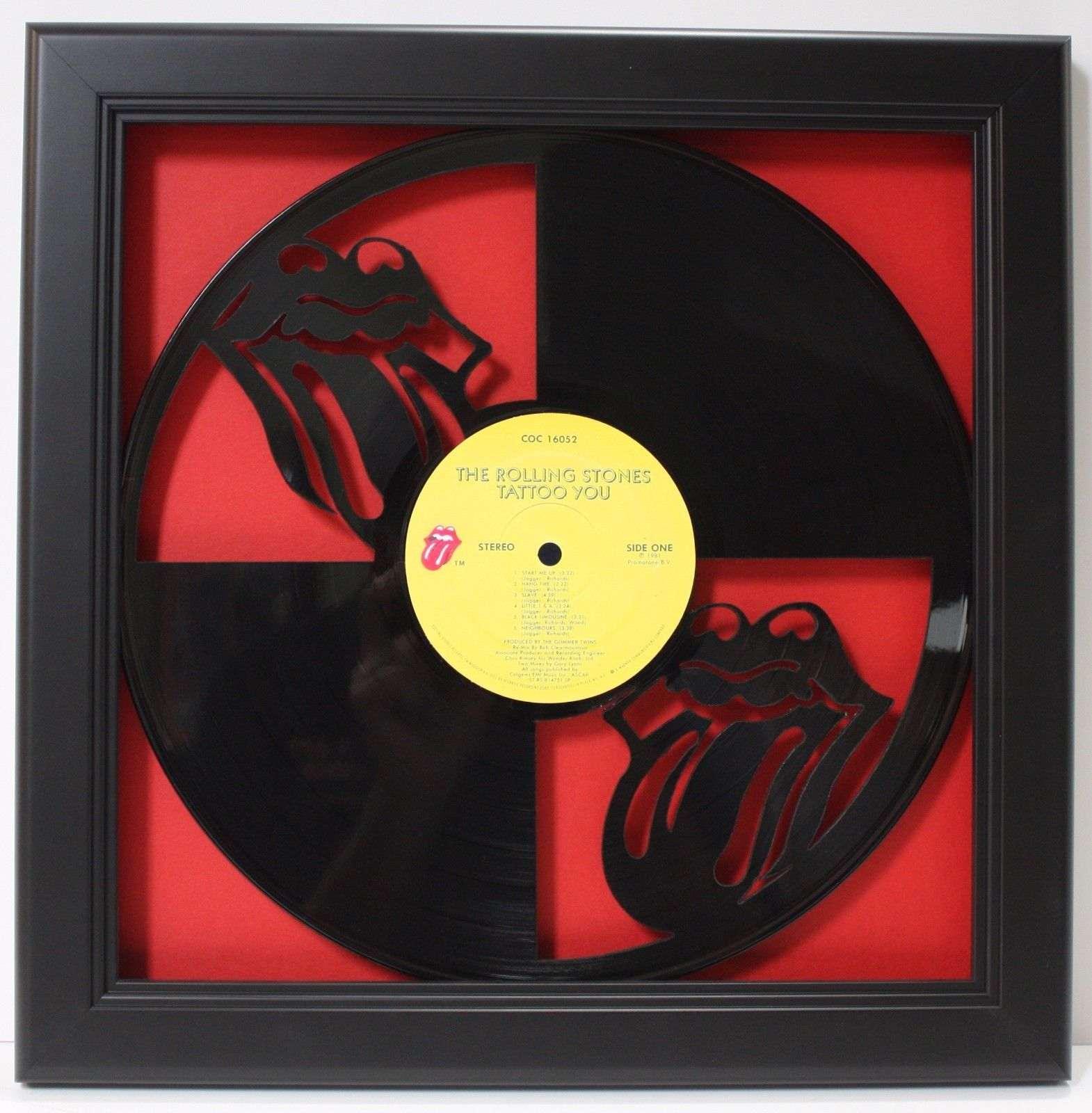 rolling stones framed laser cut black vinyl record in shadowbox