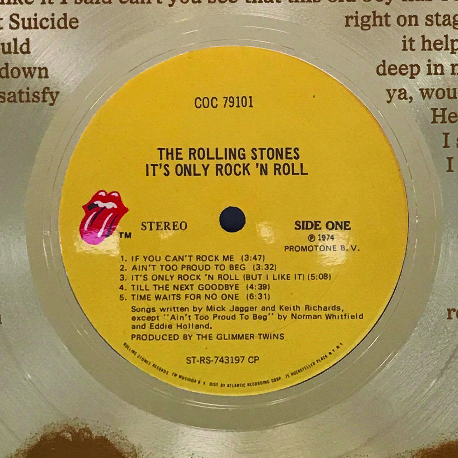 Rolling Stones Gold LP laser etched w/ It\'s Only Rock and Roll Wall ...
