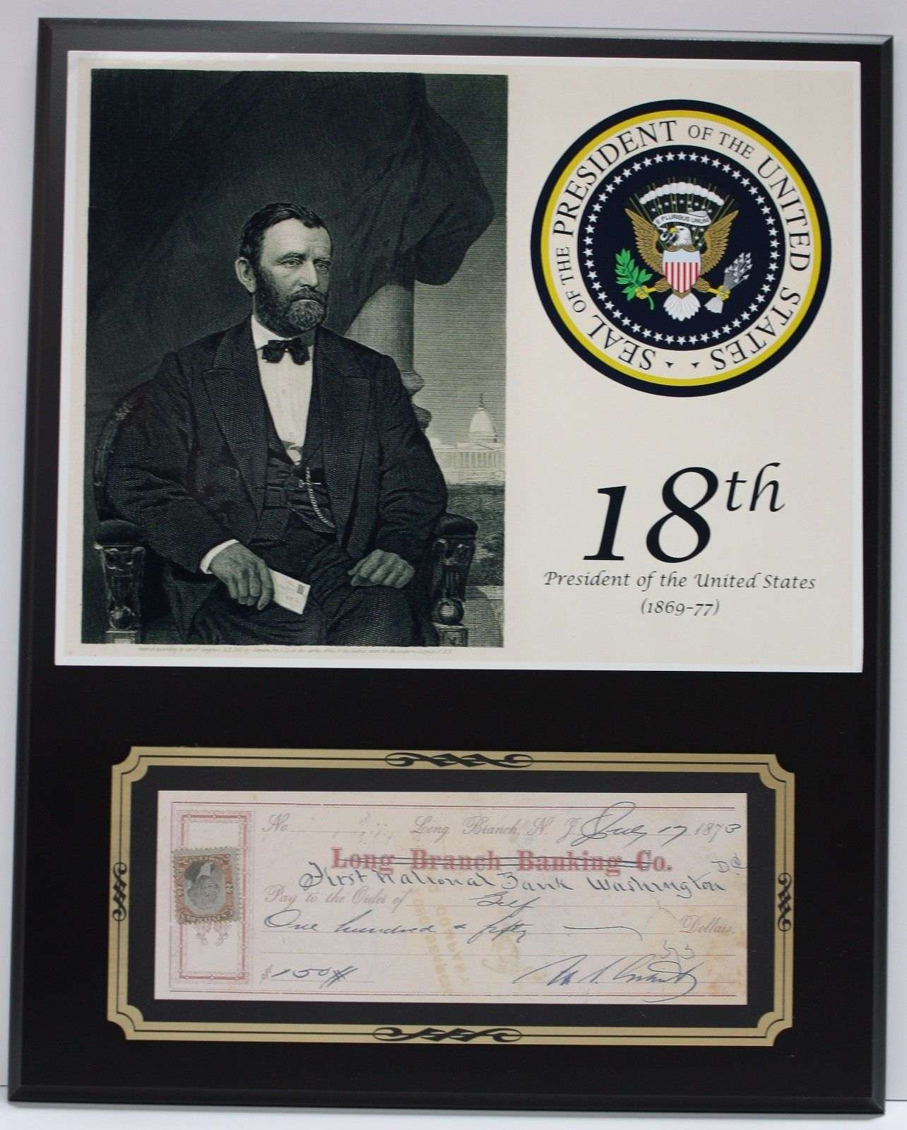 Ulysses S. Grant President Reproduction Signed Limited Edition Check Display