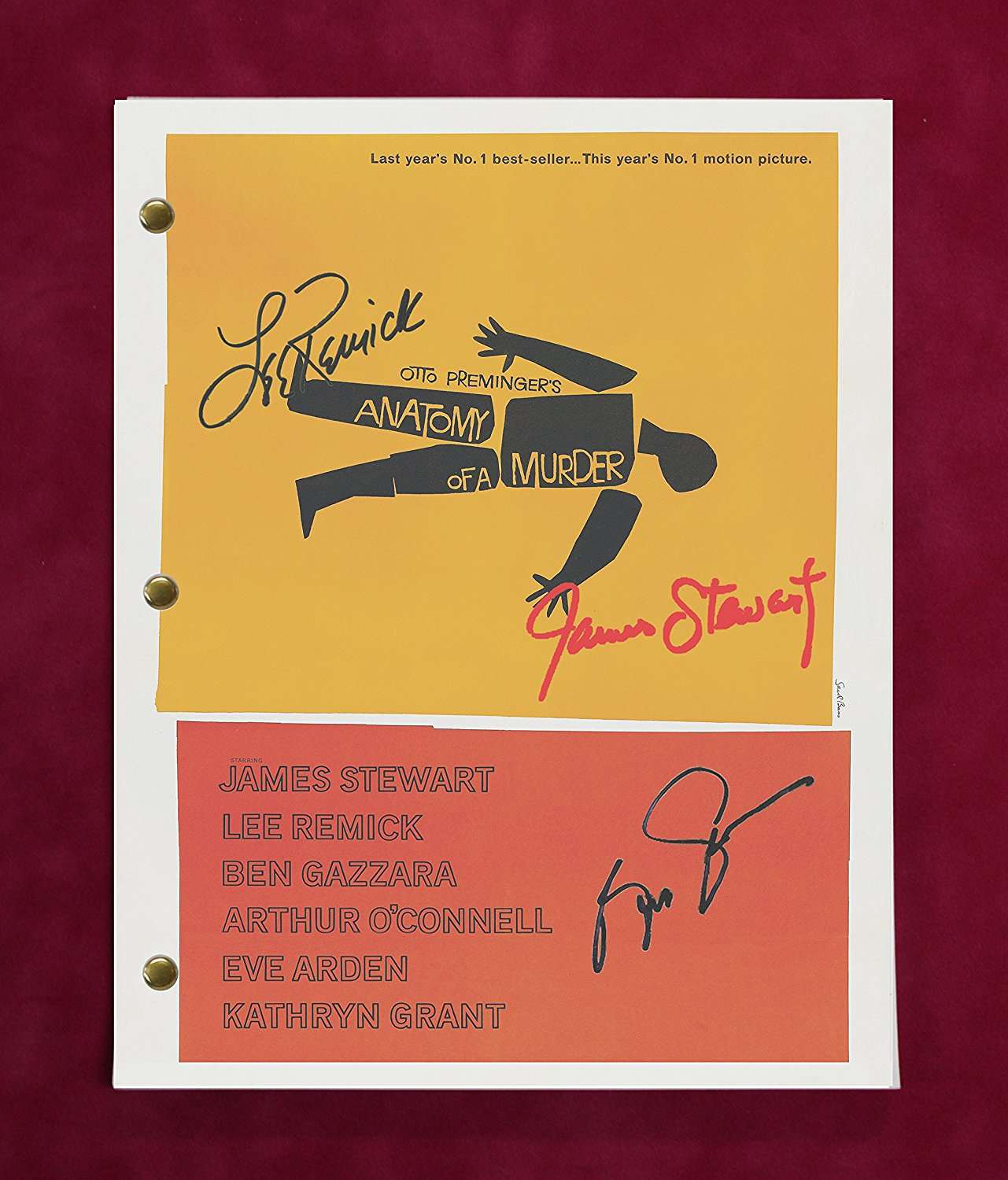 Anatomy Of A Murder Movie Script With Reproduction Signatures