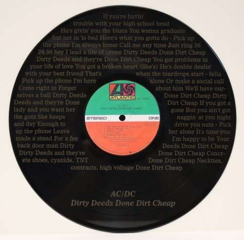 ACDC Dirty Deeds Done Dirt Cheap Black Vinyl 12in LP Laser Etched Record  Wall Art