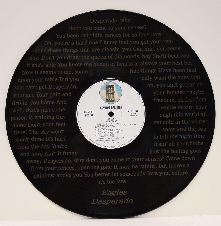 eagles desperado black vinyl 12in lp etched record wall art gold