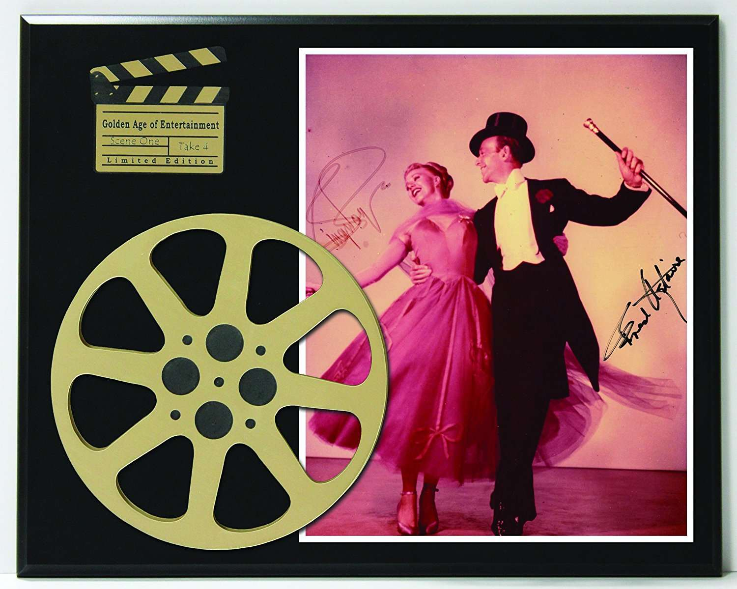 Fred Astaire And Ginger Rogers Limited Edition Reproduction Autographed Movie Reel Display K1 Gold Record Outlet Album And Disc Collectible Memorabilia