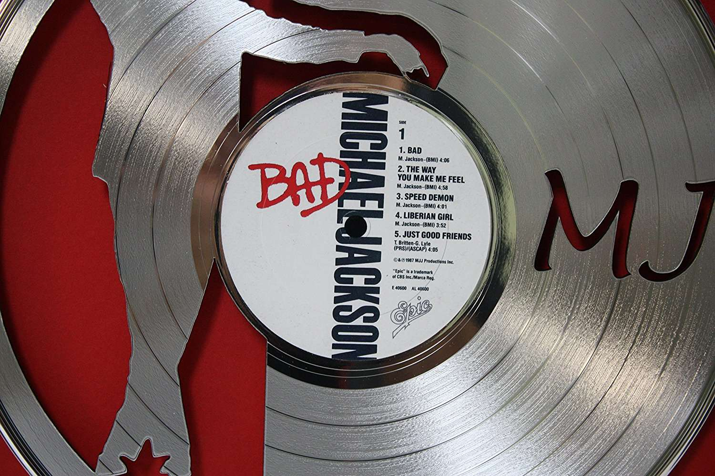 Michael Jackson Black Wood Framed Laser Cut Platinum Lp
